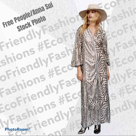 Free People / Anna Sui Silver Sequence Maxi Dress